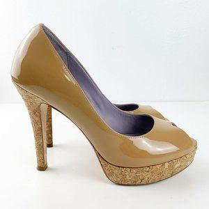 Cole Haan Patent Leather Mariela Peep Toe Pumps